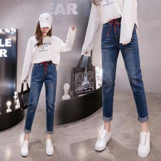 Plus Size High Waist Drawstring Slim Fit Jeans
