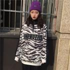 Zebra Print High-neck Pullover