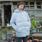 Hooded Down Jacket Light Blue - One Size