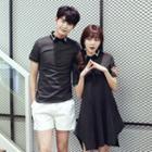 Couple Matching Contrast Trim Short Sleeve Polo Shirt / Short Sleeve Polo Shirt Dress