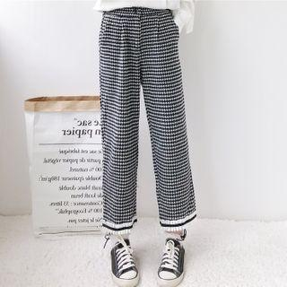 Houndstooth Straight-cut Pants As Shown In Figure - One Size