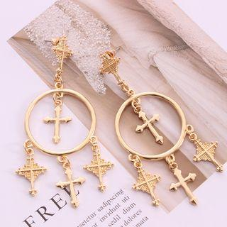 Alloy Cross Fringed Earring Gold - One Size