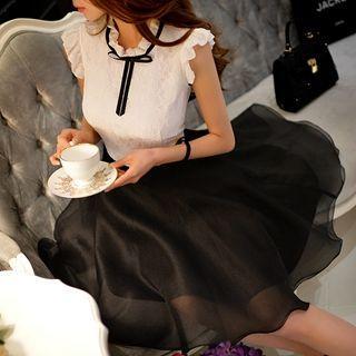 Tie-neck Paneled A-line Dress