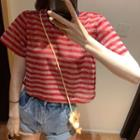Striped Short-sleeve T-shirt Red - One Size