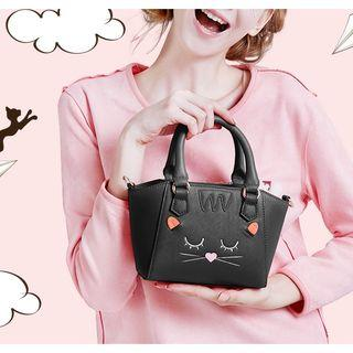 Embroidered Mini Tote With Shoulder Strap