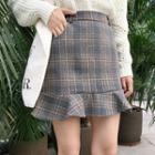 Plaid Ruffle-trim Mini Pencil Skirt