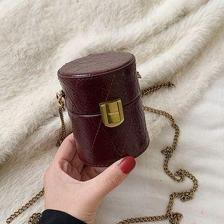 Chain Strap Faux Leather Mini Bucket Bag