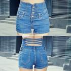 Cross-back Denim Shorts