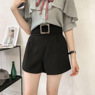 Buckled Wide-leg Shorts