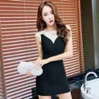Sleeveless Mesh Panel Bodycon Dress