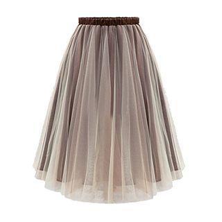 Pleated Mesh Panel Maxi Skirt