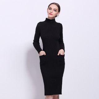 Mock Neck Knit Sheath Dress