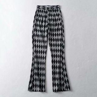 High-waist Argyle Slit Boot-cut Pants