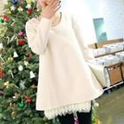 Lace Hem Long-sleeve Dress