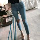 Cropped Ribbed Skinny Jeans