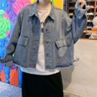 Frayed Drawstring Denim Jacket