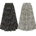 Dotted Midi Accordion Pleat Skirt