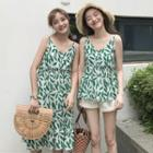 Leaf Print Tank Top / Leaf Print Sleeveless Dress