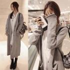 Plain V-neck Long Cardigan Light Grey - One Size