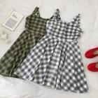Plaid Cut Out Sleeveless Dress