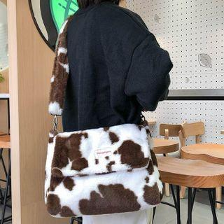 Milk Cow Print Fleece Messenger Bag