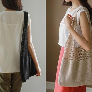 Openwork-panel Knit Shopper Bag