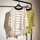 Striped Elbow-sleeve Dip Back Knit Top