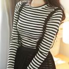Set: Chiffon Suspender Dress + Striped Bodycon Dress