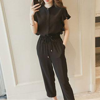 Set: Short-sleeve Blouse + Cropped Pants