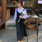 Lantern-sleeve Blouse / Maxi Pinafore Dress