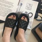 Quilted Faux Leather Slide Sandals