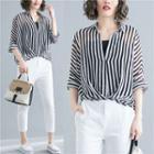 Set: Elbow-sleeve Blouse + Camisole Stripe - One Size