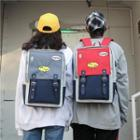 Embroidery Color Block Belted Canvas Backpack