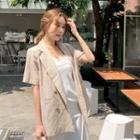 Short-sleeve Linen Blend Stripe Blazer