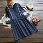 Lace Panel Frilled A-line Dress
