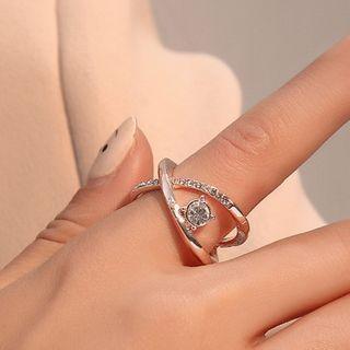 Rhinestone Ring 01 - 3668 - Rose Gold - One Size