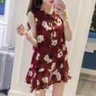 Sleeveless Floral A-line Chiffon Dress