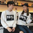 Couple Matching Letter Applique Sweatshirt