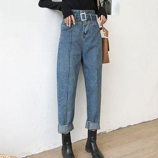 High Waist Seam Front Straight Cut Jeans