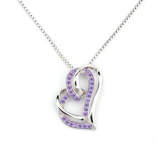 ?adorable Heart? 925 Sterling Silver Purple Cz Heart Necklace