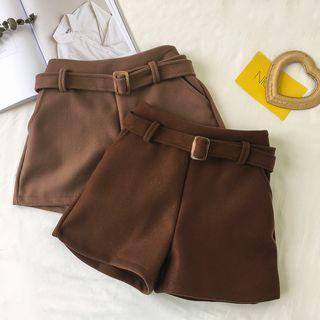 Belted Woolen Wide-leg Shorts