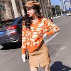 Leopard Print Sweater Tangerine - One Size