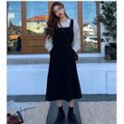 Dotted Shirt / A-line Midi Jumper Dress