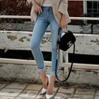 Washed Slit-hem Skinny Jeans