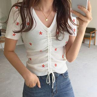 Drawstring-front Embroidered Top