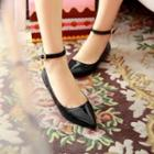 Patent Pointy-toe Ankle-strap Flats