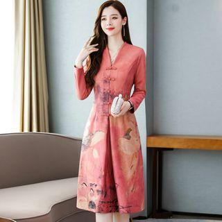 Traditional Chinese Long-sleeve Printed Dress