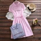 Embroidered Striped Short Sleeve Collared Dress