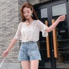 Elbow-sleeve Floral Chiffon Blouse Floral - White - One Size