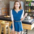 Contrast-sleeve A-line Dress